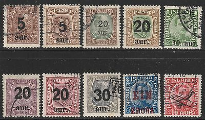 Iceland [z001a]1921-38.Good lot of overprints.(10) VF-Used