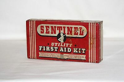 Vintage Sentinel First Aid Kit Tin - Made in Ohio - Soldier Logo