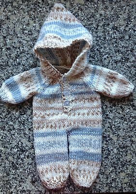 "Dolls clothes hand knitted onesie for 12-14"".boy doll - very cute"