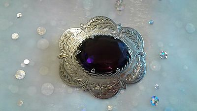 Vintage Scottish Silver Cairngorm Brooch set Amethyst Colour Stone Ward Brothers