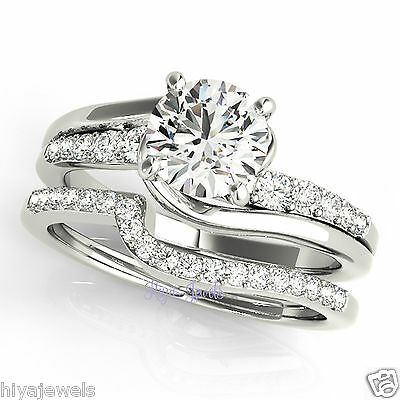 2.00ct Round Cut Delicated Diamond Solitaire Engagement Ring Set 14k White Gold
