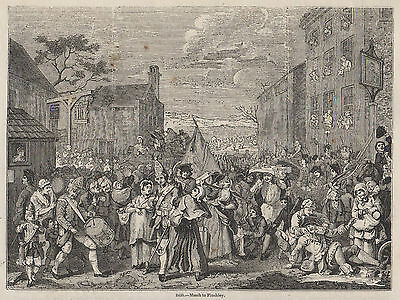 1845 Print Victorian William Hogarth The March To Finchley Jacobite London