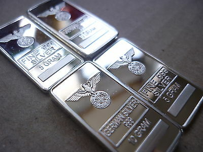 ✠German SILVER bars ✠2 X 10 gram and 2 X 5 gramRARE ✠ size 30MM X 15MM