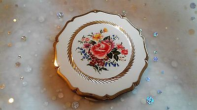 Vintage Stratton Powder Compact Floral Rose Bouquet White and Goldtone