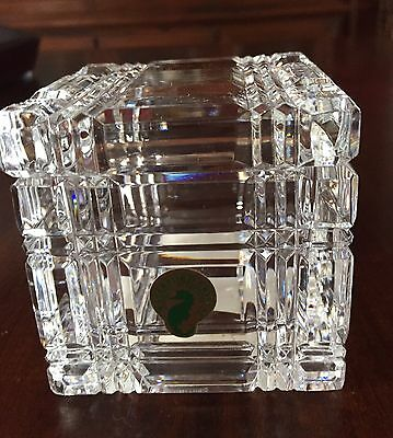 """Stunning Rare WATERFORD  Crystal Desk Cube with Lid - 3 1/4"""""""