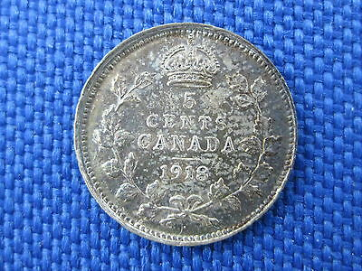 Unc 1918 Canada King Edward Vii Silver 5 Cent Coin