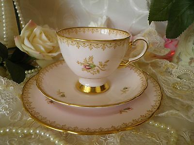Lovely Vintage Tuscan Trio, Baby Pink With Lavish Gilding , Good Condition