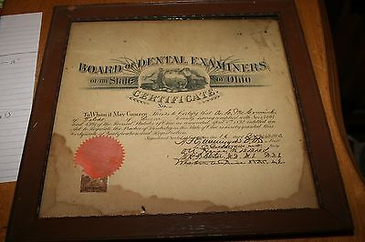 Antique 1900 Dental Examiners Framed Certificate License Diploma Ohio State