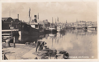 The Harbour   Aberdeen . M& L Real Photograph Postcard