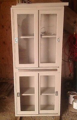 Vintage Metal and Glass Medical Cabinet Used