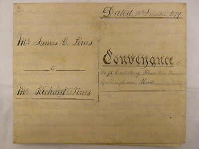 1879 Antique Vellum Indenture / Deed Gillingham - Kent