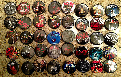 Set of 40 AC/DC collectible pins/buttons/badges acdc angus young 80s rock