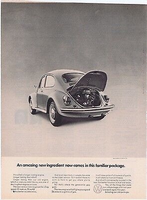 VW 1969 Engine in Rear Beetle Volkswagen Bug Vintage Original Print Car Ad