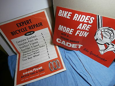 Vntg Bicycle Shop Poster Sign Cadet Speedometer Repair Price List Goodyear Tire