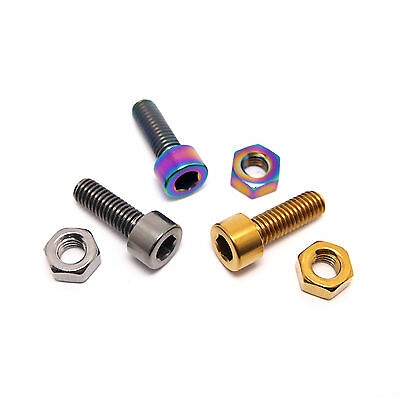 TLC BIKES Titanium BMX Seat Clamp Bolt and Nut - Natural, Rainbow and Gold