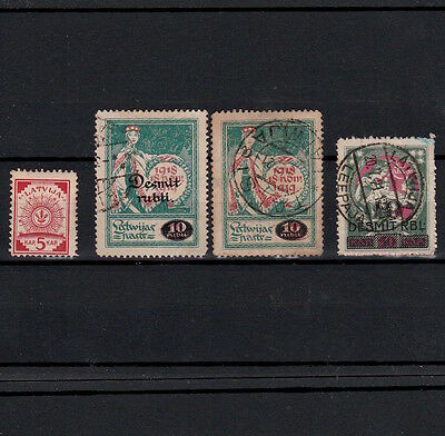 Latvia 1919 Selected Early Stamps Printed On Maps And Banknotes (4)