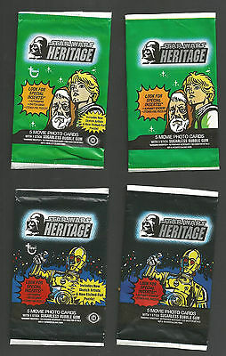 Star Wars Heritage Gum Cards Wrappers X 4 Different