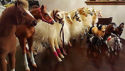 Huge Lot Of 14 Toy Plastic Horses Bridles Saddles Long Hair Maine White Black