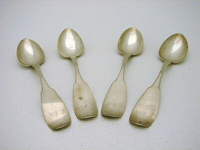 Set of 4 American Coin Silver Table Serving Spoon Hallmarked MB Dated 1875