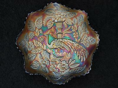 Carnival Glass Peacock And Urn Bowl - Blue With Good Irredescence
