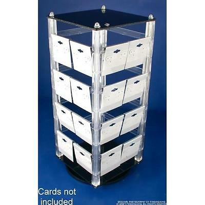 """Revolving Rotating Acrylic Earring Display Holds 32 2"""" Cards"""