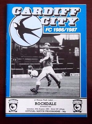 CARDIFF CITY v ROCHDALE DIVISION FOUR PROGRAMME 30th AUGUST 1986 VERY GOOD