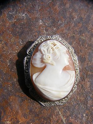 Vintage Antique Shell Cameo Pin Pendant 14K White Gold Brooch