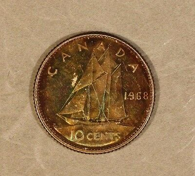 1968 Canada 10 Cents Silver Colorfully Toned Piece !   ** FREE U.S. SHIPPING **