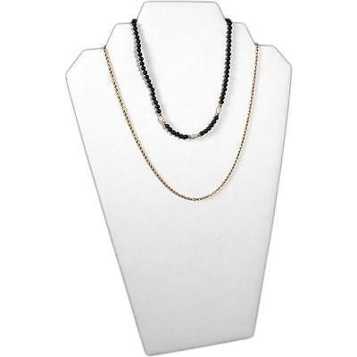 Necklace Chain Display Stand Bust White Faux Leather