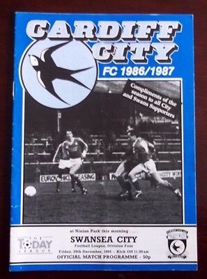 CARDIFF CITY v SWANSEA CITY DIVISION 4 PROGRAMME 26th DECEMBER 1986