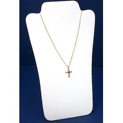 """White Faux Leather Necklace Display Jewelry Case 13.5"""""""