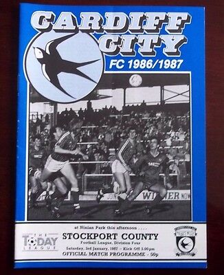 CARDIFF CITY v STOCKPORT COUNTY DIVISION 4 PROGRAMME 3rd JANUARY 1987