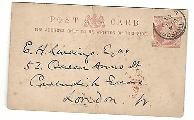 Queen Victoria - 1/2d Brown -  Postcard - Twyford to London - 1883
