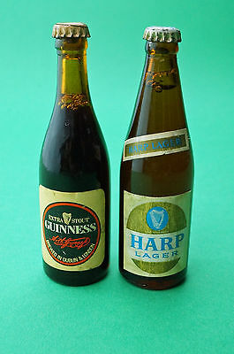 Miniature Advertising bottles of Guinness and Harp Lager 3 inches Tall Sealed