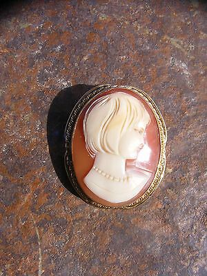 Vintage Antique Shell Cameo Pin Pendant 14K Yellow Gold Brooch