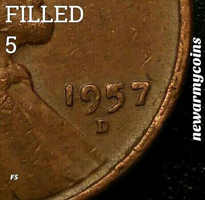 US AMERICAN ERROR COINS 1957 D FILLED 5 LINCOLN WHEAT EAR PENNY newarmycoins