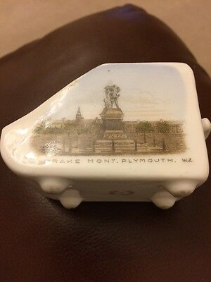"""Crested China View Ware A present from Plymouth """" Coal scuttle, Drake Monument"""