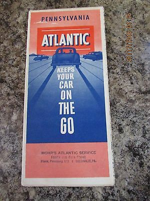 1953  Pennsylvania Road Map Atlantic Oil Gas