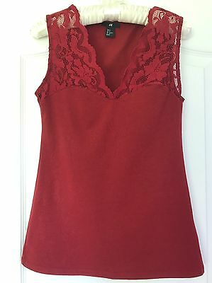 H&M Ladies Women's Sleeveless Lace Top Burgundy Red Size S