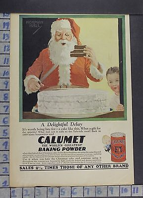 1918 Calumet Santa Hall Baking Powder Child Food Kitchen Cook Vintage Ad  Dh61