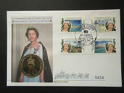 Turks & Caicos Is. QEII 40th Anniv of Accession to Throne Coin First Day Cover.