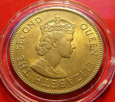 GEM BU 1955 RARE JAMAICA PENNY,  Elizabeth II, High Grade Brass Penny w Holder!