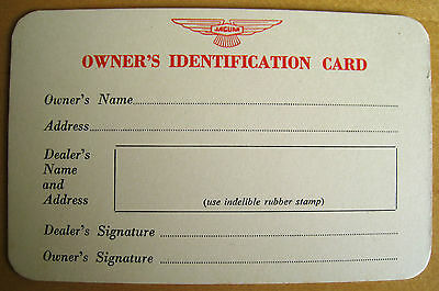 Genuine Vintage Jaguar Owner´s Identification Card, XK 140 E-Type 50s, early 60s