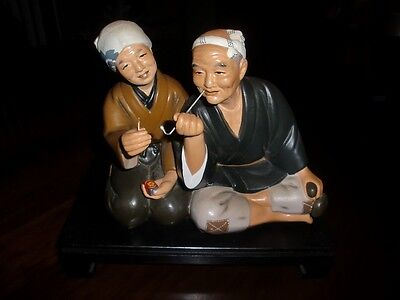 Vintage Japanese old Man & old Woman Smoking Pipe Hakata Clay DOLL /w stand