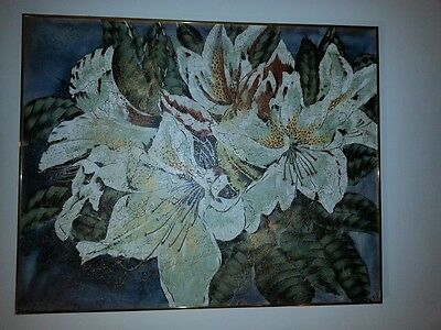 Lee Reynolds large 4'x5' oil painting of lilies using gold highlights