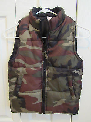 Open Trails Boys Vest Camo Sz Small 6-7 Zipper Pockets Warm Lined Puffy Hunting