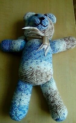 Kiddies Knitted Teddy ,unwanted Gift In Blue Mix Knit