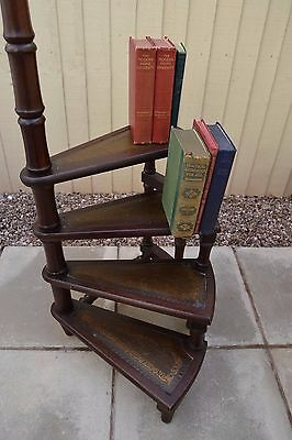 Fabulous Antique Reproduction Mahogany Library Steps Leather Inserts Stand