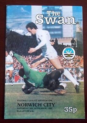 SWANSEA CITY v NORWICH CITY DIVISION ONE PROGRAMME 4th SEPTEMBER 1982