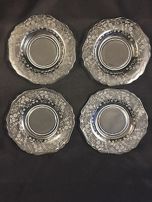 """SET OF 4 GLASS CAMBRIDGE ELAINE 6.25"""" BREAD AND BUTTER PLATES 3500 Qty"""